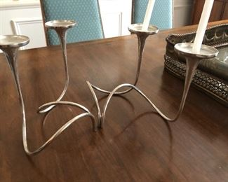 """Gorham sterling mid century modern 1960s """"Fountain Candelabra"""" 3  double candle pieces fit together as you wish."""