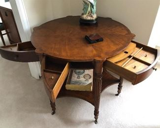 Toms Price round table with angled drawers
