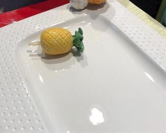 Nora Fleming platter with retired pineapple & pumpkin & orig box