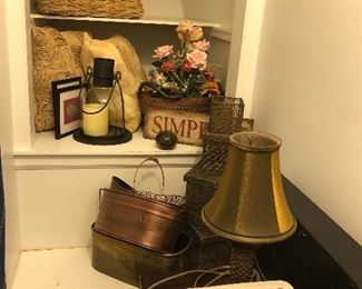 lamps, baskets, copper & brass