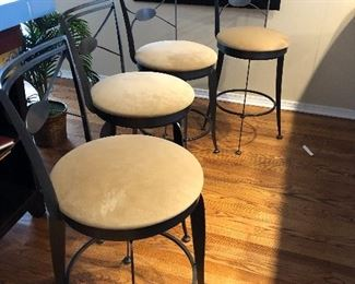 Pewter metal counter height swivel stools with ultra suede seats