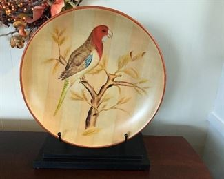 decorative pottery bird plate on stand