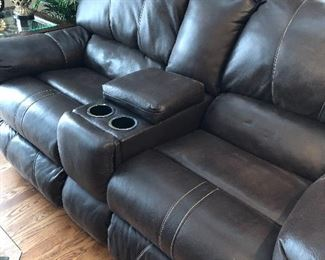 dark brown leather reclining sofa