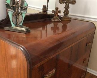 vintage dresser & mirror with bakelite handles