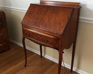 antique zebrawood secretary desk - excellent condition