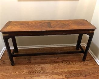 inlay wood console or sofa table with brass corners