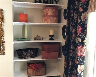 various boxes, baskets & mirrors