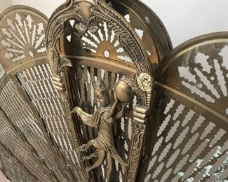 Brass fireplace screen - fan folds out and retracts