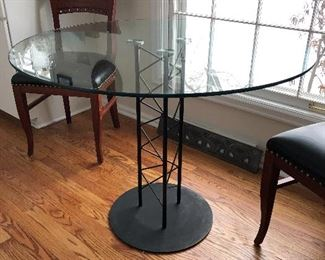 contemporary glass and metal kitchen table