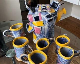 signed pottery mugs & pitcher