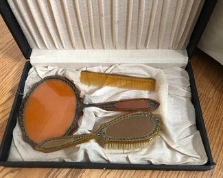 antique vanity set - mirror, comb, brush