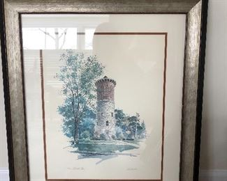 large signed print of Western Springs Water Tower
