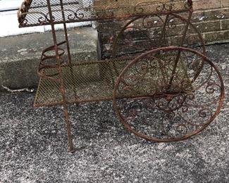 Vintage metal drink cart for garden