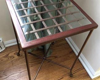 Small metal glass side table