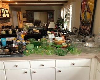 Uranium glass juicers, bowl, pitcher, jar