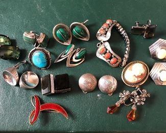 Vintage  jewelry. Sterling, Navajo, modernist, Schiaparelli, Norway, Munnecke