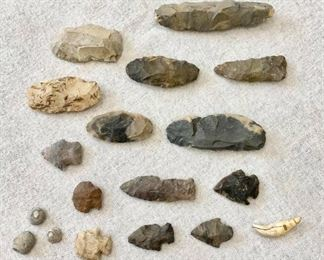Scrapers, tools, arrowheads, civil war bullets, tooth. $75