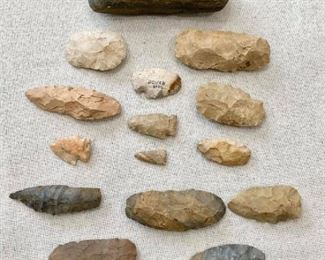 Large axe, 9 scrappers, arrowheads. $120