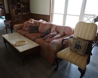 couch, marble top coffee table, chair