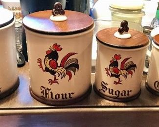 Poppytrail By Metlox Four piece Canister Set and Cookie Jar (priced separately)