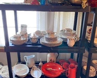 Club Dutch Oven, Fire King, Pyrex, Refrigerator Dishes, and some brass with floral decor, and Moon and Stars