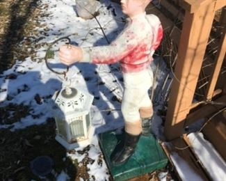 Heavy concrete lawn jockey, a must have for your Kentucky yard.