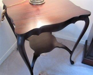 3. $195 Mahogany Square Table with cabriole legs and shelf, 24""