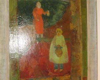"4. $295 Painting, Oil on Canvas, Mother w/Child, Mary Hovnanian, 30"" x 36"""