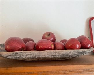 Wood dough bowl with decor apples
