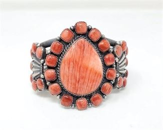 """402  Kenneth Begay Sterling Silver Cuff With Spiny Oyster Stones, 141.2g Weighs Approx 141.2g. Cuff Measures Approx 3""""x2.5"""" Value $960"""