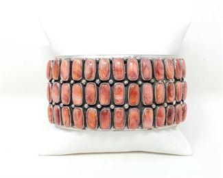 """404  L. James Sterling Silver Cuff With Spiney Oyster Stones, 146.9g Weighs Approx 146.9g. Cuff Measures Approx 3""""x1.5"""" Value 1200"""