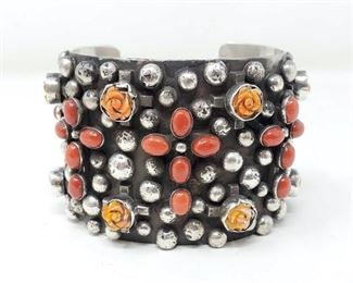 """406  Chimney Butte Sterling Silver Cuff With Coral And Spiny Oyster, 157g Weighs Approx 157g. Cuff Measures Approx 2""""x3"""". Value 1320"""