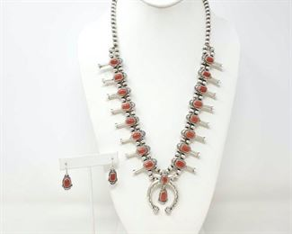 414  Sterling Silver Squash Blossom With Coral Stones And Sterling Silver Earrings With Coral Stones, 124.6g Total Weight Approx 124.6g Value 1440