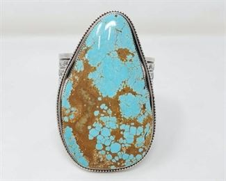 """400  Sterling Silver Cuff With Large Number 8 Turquoise Stone, 340.3g Weighs Approx 340.3g. Stone Measures Approx 3.5""""x2.5"""" Value $2200"""