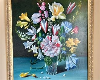"""$295  -  Floral Giclee on Canvas Late 20th century - early 21st century painting - 27"""" H x 23"""" W."""