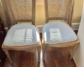 """$250 - Pair of vintage cane-back chairs with down cushions - 38"""" H, 19"""" W, 19"""" D (seat at 19"""" H)"""