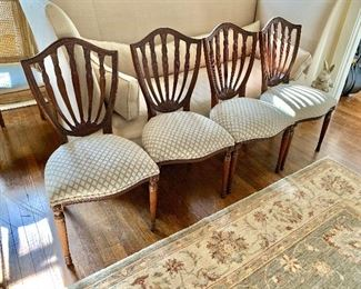 """$695 - Set of 4 Maitland-Smith shield back chairs with custom upholstery - 34"""" H, 19"""" W, 18"""" D (seat at 19"""" H)"""