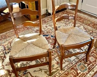 """$180 - Pair of ladder back, rush chairs - 39"""" H, 18"""" W, 18"""" D (seat at 18"""" H)"""