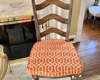 """$250 - Pair of ladder back chairs with custom cushions - 46"""" H, 20"""" W, 21 D (seat at 21"""" H)"""
