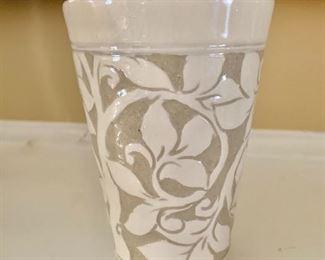"""$75 - Miranda Thomas glazed vase 6"""" H, 4"""" diam."""