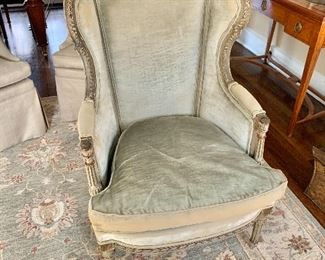"""$375 - Vintage, Louis Xv style, wingback, velvet arm chair with down cushion - 42"""" H, 27"""" W, 23"""" D (seat at 18"""" H)"""