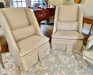 """$595 - Pair of Lee Luxe pleated, high back linen chairs with down seat and pillows - 44"""" H, 29.5"""" W, 32"""" D (seat at 18"""" H)"""