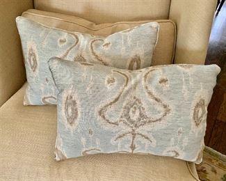 """$85 - Pair of down pillows - 18"""" W x 12"""" H."""
