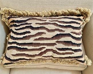 """$65 - Down, zebra pillow - 22"""" W x 14"""" H"""