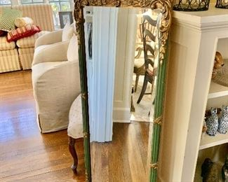 """$250 - Vintage, ornate mirror with blue/green accents - 57"""" H x 19"""" W."""