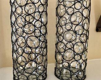 "$95 - Pair of glass/metal vases - 13.5"" H, 5.5"" diam."