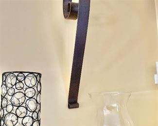 """$260 - Pair of wall sconces with glass globe (one of two). 28"""" H, 3"""" W, 10"""" D.  Globe: 10.5"""" H, 8"""" diam."""