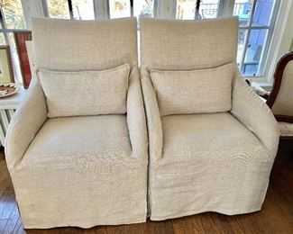 """$500 - Pair of linen armchairs with down pillows - Each 43"""" H, 27"""" W, 27"""" D."""