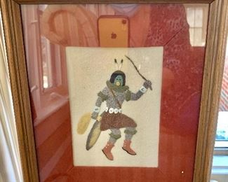 """$180 Jerry Ted Toledo unsigned raised  sand painting 13.5"""" H x 11"""" W."""