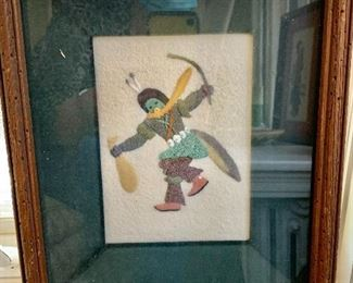 """$160 Jerry Ted Toledo unsigned raised sand painting 12"""" H x 10.25"""" W."""